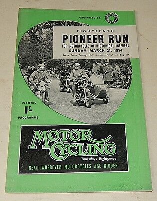 Programme Officiel MOTORCYCLING : Eighteenth PIONEER RUN 1954 - Motocycles