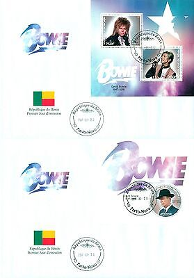 David Bowie In Memoriam Music Benin first day covers 2 FDC set
