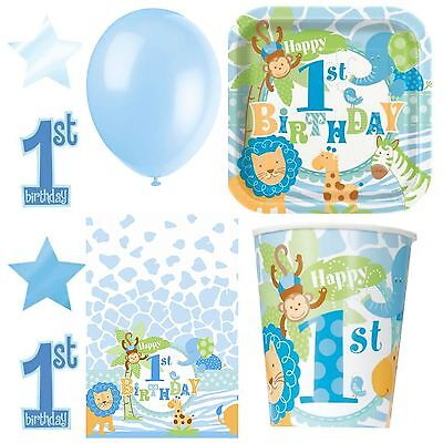 1st First Birthday Safari Jungle Boys Party Tableware Blue Animal Decorations