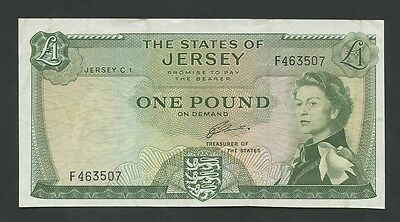 JERSEY - QEII  £1  1963  Krause.8b  About VF  ( Banknotes )