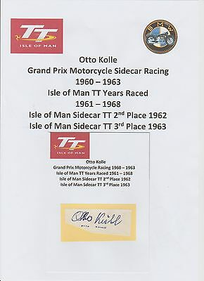 Otto Kolle Motorcycle Racer 1960-1963 Iomtt Rare Original Hand Signed Cutting