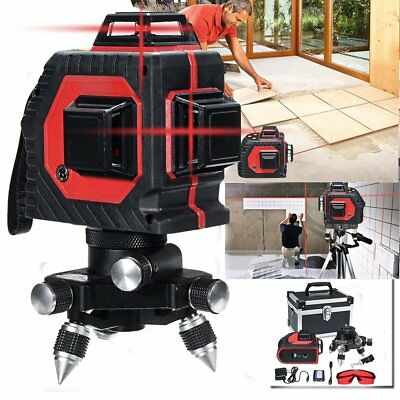 AU 12 Line 360 Rotary 3D Cross Laser Level Line Self-leveling Wall Stick+Tripod