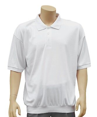CATHEDRAL Polo Mens Knitted Three Button Welted Hem White Top Size Small