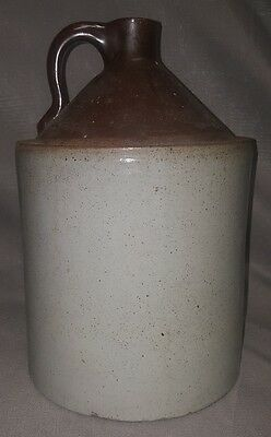 Antique Salt Glazed Stoneware Moonshine Whiskey Jug Two Toned Primitive 13""