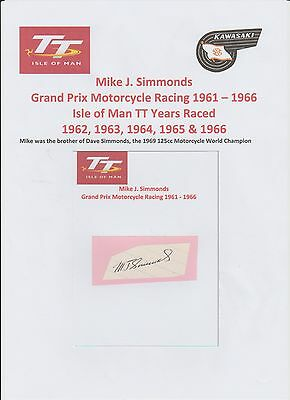 Mike Simmonds Motorcycle Racer 1961-1966 Iomtt Rare Original Hand Signed Cutting