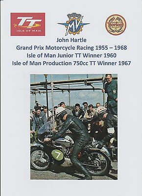 John Hartle Motorcycle Racer 1955-1968 Iomtt Rare Original Hand Signed Picture