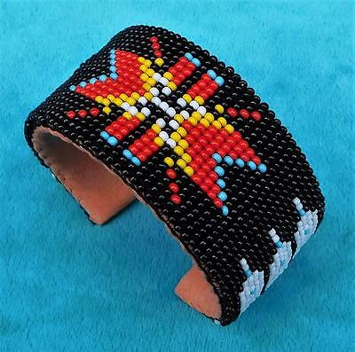 """cherokee Star"" Native American Indian Beaded Cuff Bracelet"