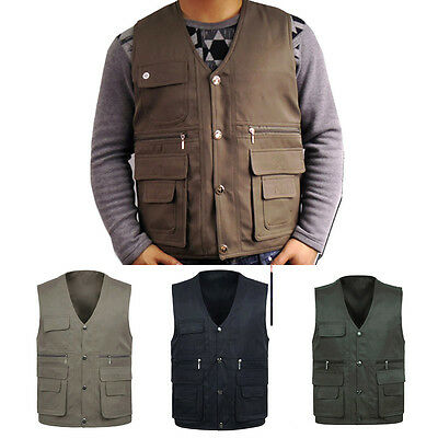 Washable Zebra Multi Pockets Casual Vest Outdoor Hunting Travel Men's Z16B8
