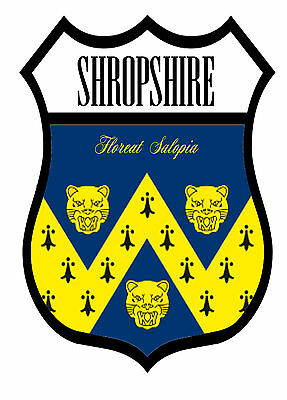 1 x Shropshire County Flag Decal Car Motorbike Laptop Window Sticker - Free Post