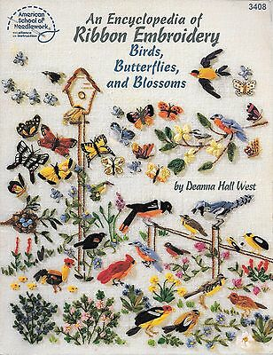An encyclopedia of ribbon embroidery birds butterflies blossoms craft book PB