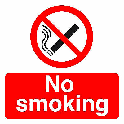 Pack of 2 No Smoking Warning Security Stickers Signs Shop Office Factory Garage
