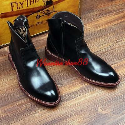 Vintage Mens Pointy Toe Chelsea Brogue dress Cowboy Motor Riding  Ankle Boots