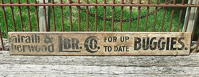 Antique UP TO DATE BUGGIES Painted Wood TRADE SIGN Omaha Walrath Sherwood Lumber