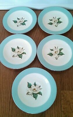 "5 Vintage 6"" Saucer Turquoise  Lifetime China Homer Laughlin Magnolia"