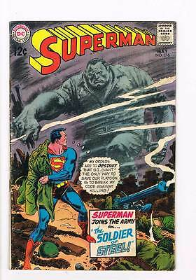 Superman # 216 The Soldier of Steel ! grade 4.0 scarce book !!