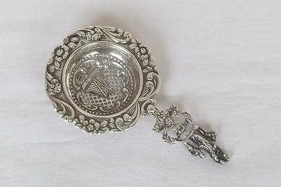 A Superb Solid Silver Dutch Tea Strainer Floral Embossed With Sailing Boat 1912.