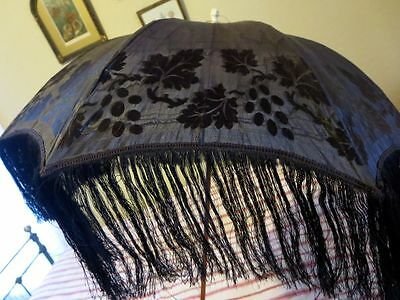 1870s Magnificent Black Silk Folding Carriage Parasol Fringe Circus Burlesque