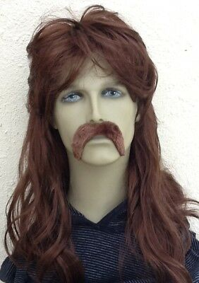 Men's Brown Mullet fancy Dress Wig & Extra Thick Droop Moustache Set