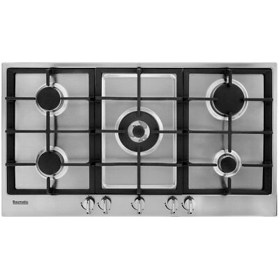 Baumatic BHG900.5SS Built In 90cm 5 Burners Gas Hob Stainless Steel New from AO