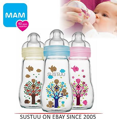 MAM Infant Chemical free Temperature Resistant Glass Milk Formula Bottle 260ml