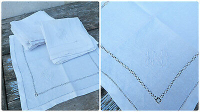 1900s French damask white linen set of 12 tea napkins embroidered monogram