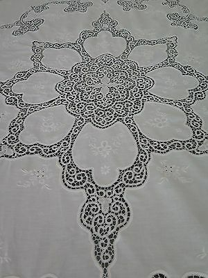 "Vtg Antique Cantu Tape Lace White Banquet Tablecloth or Coverlet 94"" x 106"""
