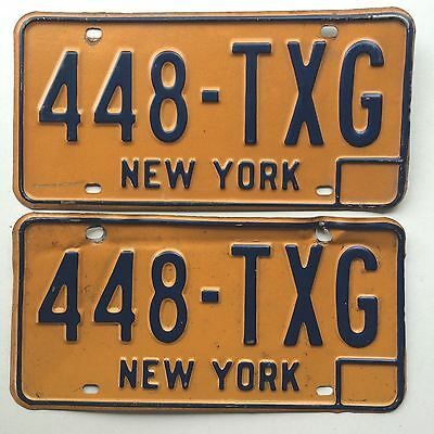 New York 1973 Pair Old License Plate Garage Vintage Car Tag Set Man Cave YOM
