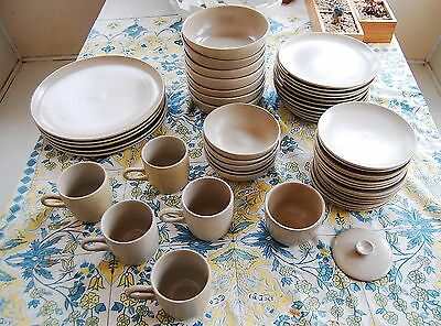 speckled off white Edith Heath California ART Pottery Plates Bowls Cups
