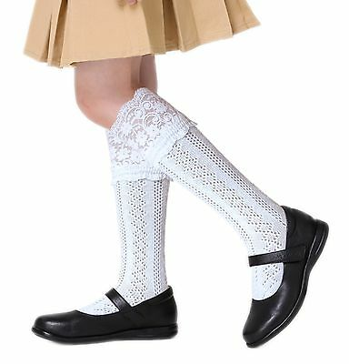 Girls fancy Pelerine school knee high socks cotton rich white with wide lace