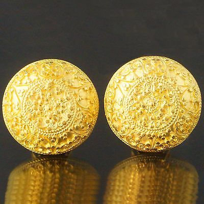 Rare Solid 23K Yellow Gold, Etruscan Detailed Round Dome Estate Earrings