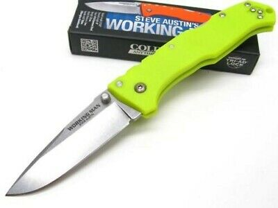 COLD STEEL Neon Green WORKING MAN Straight Folding Pocket Knife New! 54NVLM