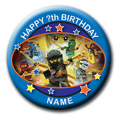 PERSONALISED LEGO NINJAGO BIRTHDAY BADGE MAGNET ADD NAME & AGE - 58MM or 77MM
