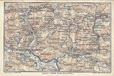Carta geografica antica TOLMEZZO CARNIA ORIENTALE Udine TCI 1920 Old antique map