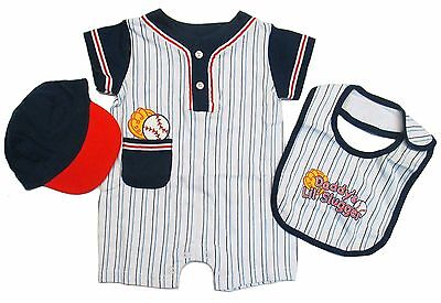 Romper Newborn Baby Boy Bodysuit Bib Baseball Hat Cotton Outfits Piece Set 3 6 M