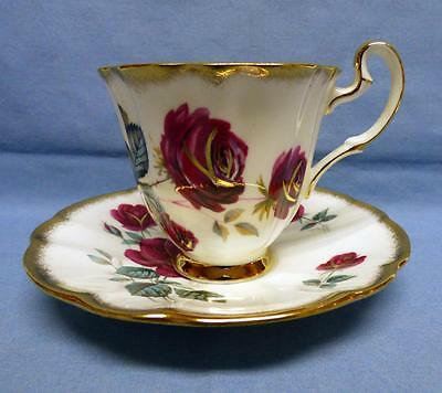 ROYAL ADDERLEY by RIDGWAY POTTERIES Cup&Saucer Fine Bone China Red Roses Gold