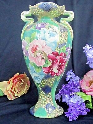 Antique Nippon Vase Early 19thc Moriage Jewels Hand Painted Handles