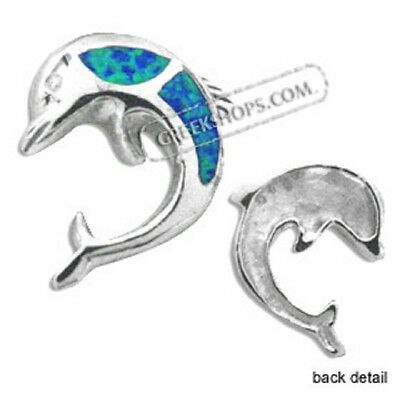 Ancient Greek  Sterling Silver Pendant - Dolphin w/ Opal (20mm)