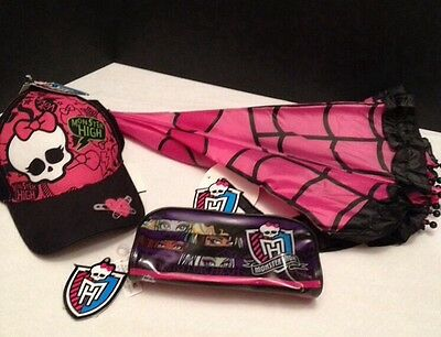Umbrella MONSTER HIGH NEW Pink/Black Hearts Kids Size & Monster High Hat & case