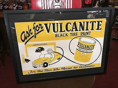 """1950's VULCANITE Rubber Tire Paint Framed Ad 19"""" x 25""""   """"See Video"""""""