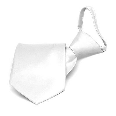 Boys' White Solid Color Zipper Tie: 11 or 14 Inch Length