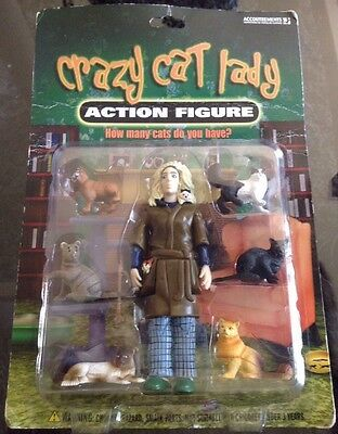 CRAZY CAT LADY Action Figure with CAT LADY + 6 CATS Accoutrements 2004 NEW MOC