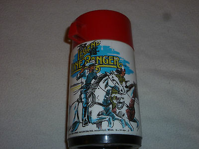 Vintage Plastic Thermos The Legend Of The Lone Ranger W Red Lid 1980 Aladdin