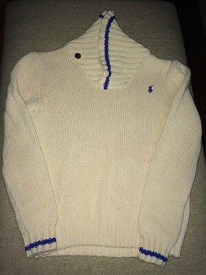 Polo Ralph Lauren Boys Size S (8) Cream And Royal Blue Shawl Neck Knit Sweater