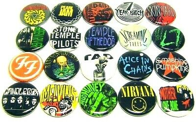"20 GRUNGE ROCK Bands ONE Inch Buttons 1"" Pins Seattle 1990s Music"