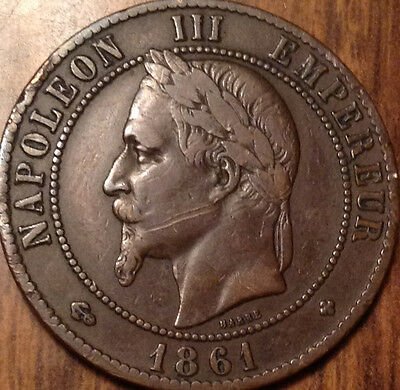 1861 Bb France 10 Centimes In Good Condition !
