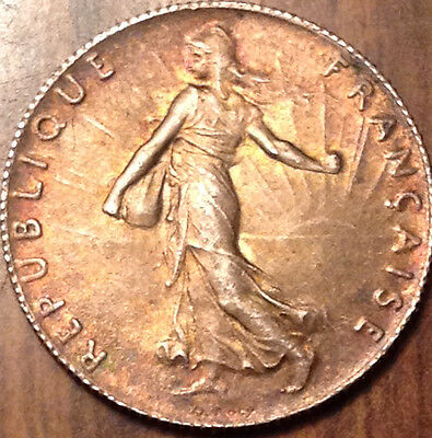 1918 France Silver 50 Centimes Semeuse Magnificent Golden Beauty In Near Unc