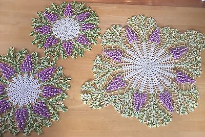 LOT of 3 BEAUTIFUL Handmade Antique Crochet GRAPE DOILIES - Various Sizes