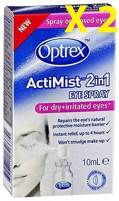 Optrex ActiMist Eye Spray For Dry & Irratible Eyes 10ml 2 X