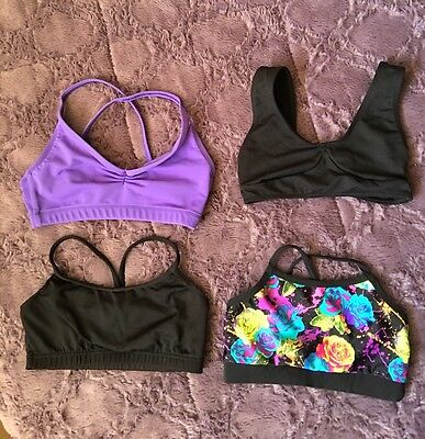 DANCE SPORTS BRAS ~ LOT OF 4~NWT~GIRLS  SIZE YM (Size 8-10)
