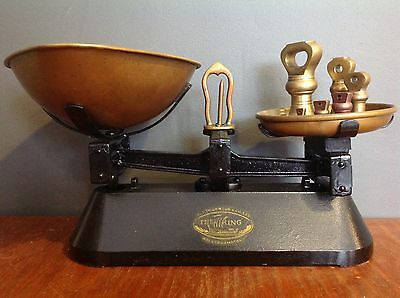 Vintage F J Thornton The Viking Black Scales Weighing Pan And Set Of Weights